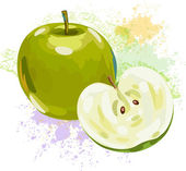 Green apple on background of grunge spots — Stock Vector