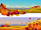 Beautiful country landscapes — Stock Vector