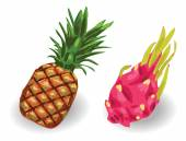 Pineapple and Dragon fruit set — Vector de stock