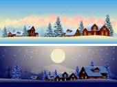 Beautiful Winter Landscapes — Stock Vector