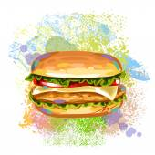Fresh Cheeseburger On paint blots — Stock Vector