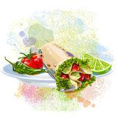 Tortilla Wrap on paint blots — Stock Vector