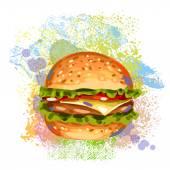 Fresh Hamburger On paint blots — Stock Vector