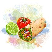 Tortilla roll on paint blots — Stock Vector