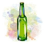 Beer bottle on paint blots — Stock Vector