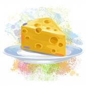 Cheese on paint blots — Stock Vector