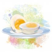 Boiled Egg on paint blots — Vector de stock