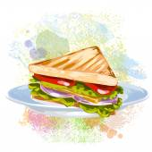 Vegetable Sandwich on paint blots — Stock Vector