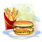 Burger and Fries on paint blots — Stock Vector