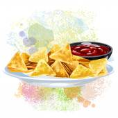 Nachos On paint blots — Stock Vector