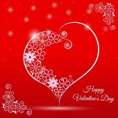 Happy Valentine's Day lettering Greeting Card on red background, vector illustration — Stock Vector