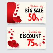 Set of tags with discount for valentines day — Stockvector