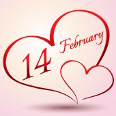 February 14  in the heart, Valentine's day — Cтоковый вектор