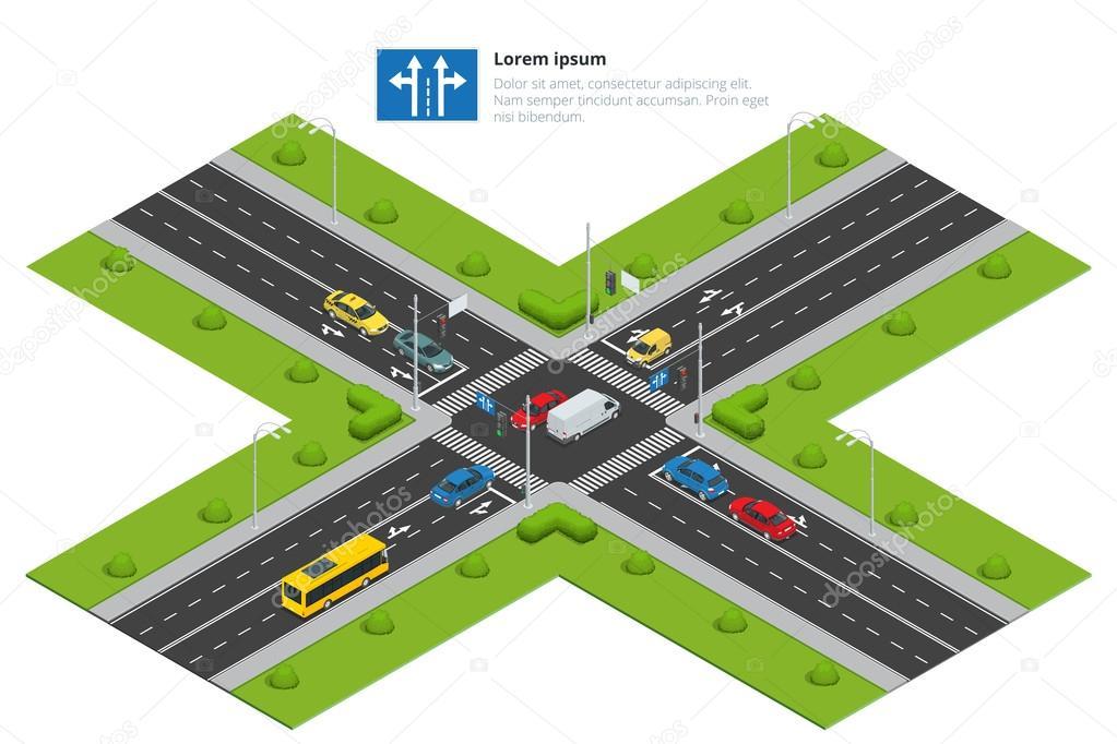 carrefour et la route marquages isom trique vector illustration pour infographie transport de. Black Bedroom Furniture Sets. Home Design Ideas