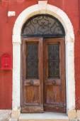A weathered wooden door — Stock Photo