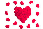 Red hearts on white background — Foto Stock