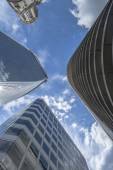 Modern skyscrapers in the City of London - upward view — Stock Photo