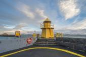 Navigational light in the harbor in Reykjavik, Iceland — Stock Photo