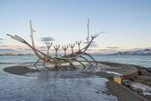 Sculpture of  Solfar (Sun Voyager) in Reykjavik, Iceland — Stockfoto