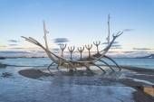 Sculpture of  Solfar (Sun Voyager) in Reykjavik, Iceland — Stock Photo