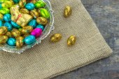 Easter eggs and Easter chocolate bunny — Stock Photo