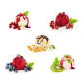 Mixed ice cream with fruits isolated on white  background. — Stock Photo