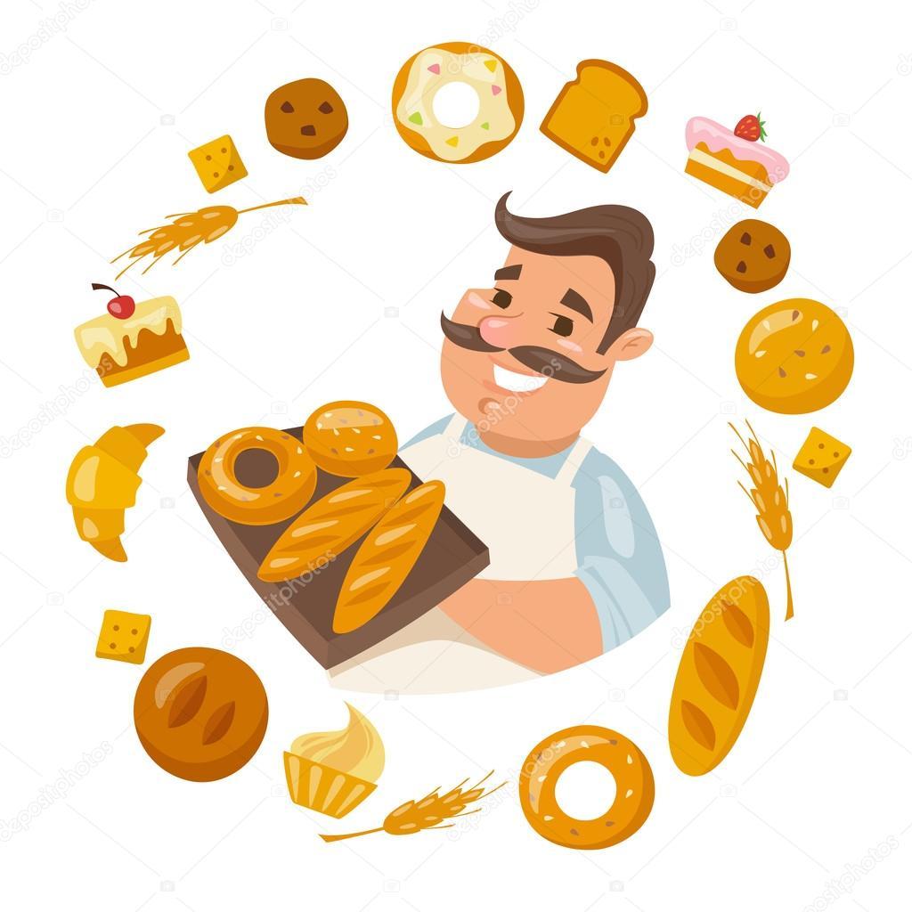 Panadero De Dibujos Animados Holding Pan Vector De Stock