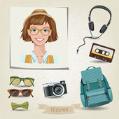 Ritratto di ragazza hipster — Vettoriale Stock