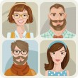 Постер, плакат: Set of four portraits of hipsters