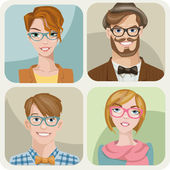 Set of four portraits of hipsters — Stock Vector