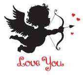 Silhouette of cupid shooting his bow pid — Vector de stock