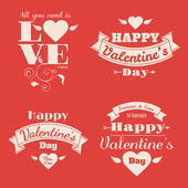 Set of four Happy Valentine's Day cards — Vector de stock