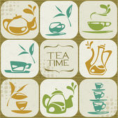Tea icons collection gathered in background. — Stock Vector