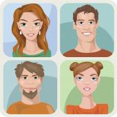 Style male and female portraits — Stock Vector