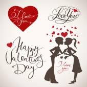 バレンタインデーの要素 — ストックベクタ