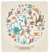 Round coffee pattern — Stock Vector
