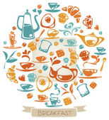 Muster mit Frühstück-Elementen — Stockvektor