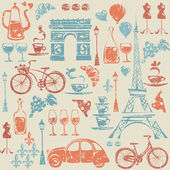 Pattern with Paris  elements. — Stock vektor