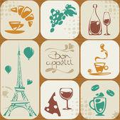 Seamless pattern with Paris elements — Vector de stock