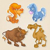 Animals sticker style. — Stock Vector