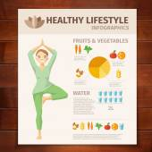 Healthy Lifestyle on wooden background — ストックベクタ