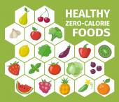 Healthy zero-calorie foods. — Stock Vector