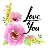 Watercolor flowers design — ストックベクタ