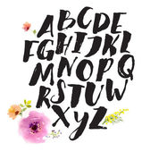 Alphabet written with brush pen — Stock Vector
