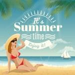 Woman sunbathing on a tropical beach — Stock Vector #71509913