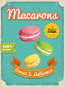 Macarons poster in vintage style — Stock Vector