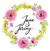 Watercolor floral wedding card — Stock Vector