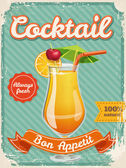 Cocktail poster in vintage style — 图库矢量图片