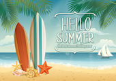 Summer background with surf boards — Stock Vector