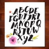 Alphabet written with brush pen — Vetor de Stock